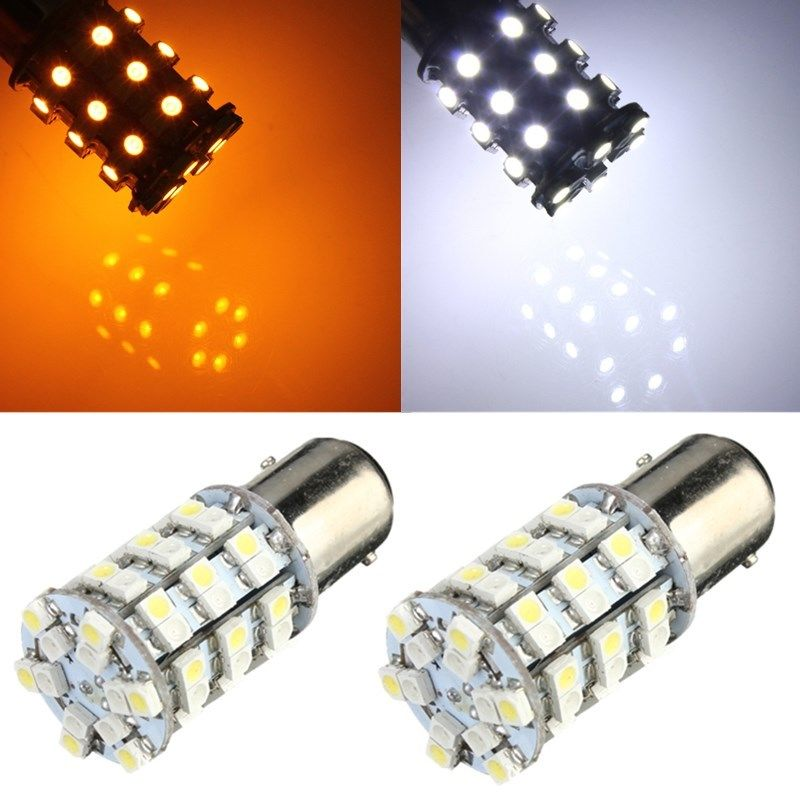 2x 1157 BAY15D 60SMD White/Amber Switchback Driving LED Tail