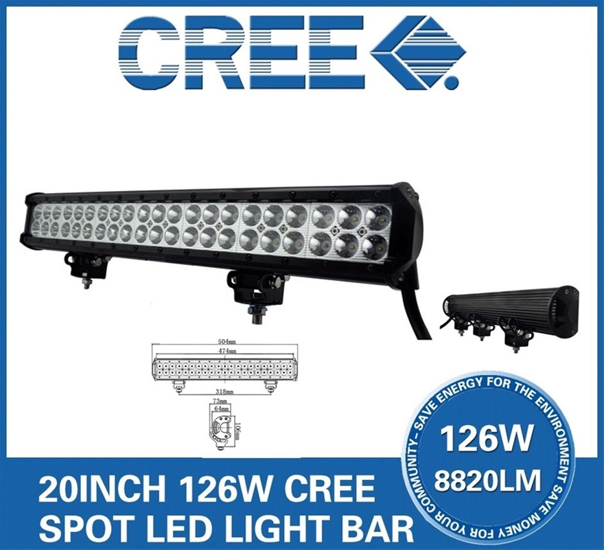 "20"" 126W LED Work Light Bar COMBO SPOT FLOOD Offroad Driving Fog"