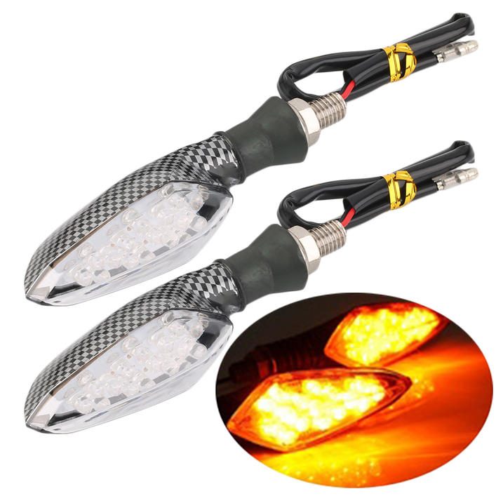 2x Universal 16 LED Motorcycle Turn Signal Amber Light Carbon