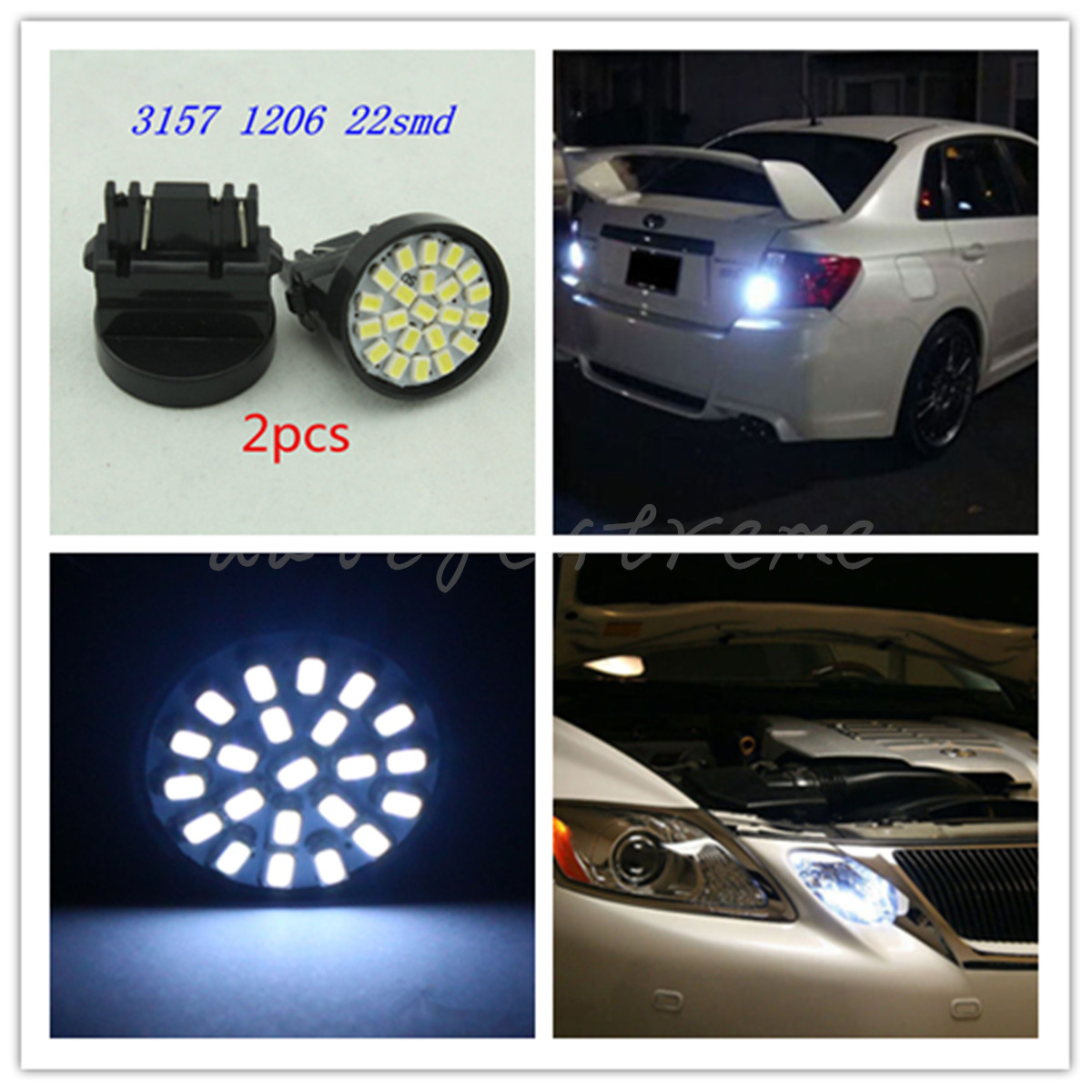 2x 3157 22SMD Car LED Bulbs Brake Tail Stop Light 3057 3457White