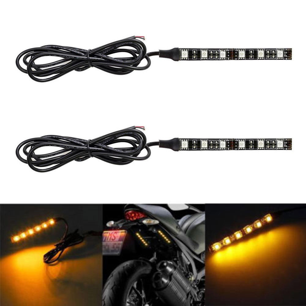 2X 6 LED 5050 SMD Motorcycle LED Strip Turn Signal Indicator