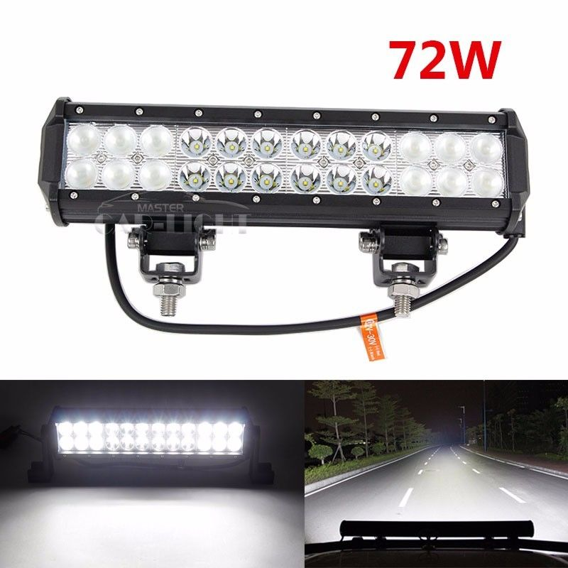 "12"" 72W LED Work Light Bar COMBO SPOT FLOOD Offroad Driving Fog"