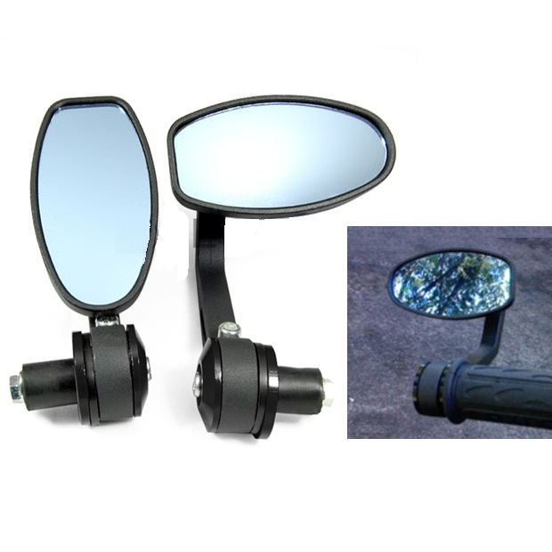 2 Pcs Motorcycle Bar End Rear Side View Mirrors Techparts
