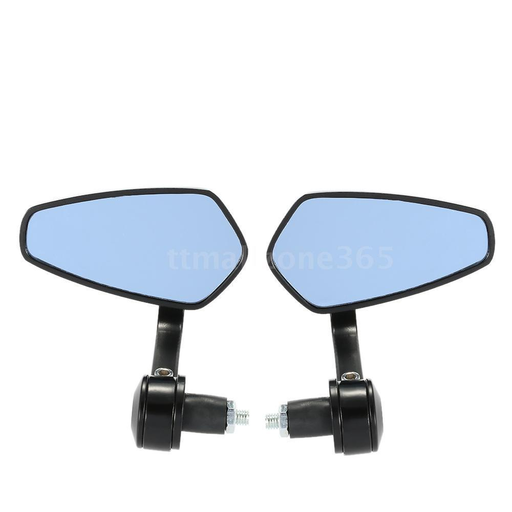 2 Pcs Motorcycle Bar End Rear Side View Mirrors Black Oval V2