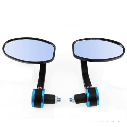 Motorcycle Bar End Rear Side View Mirrors Blue Techparts