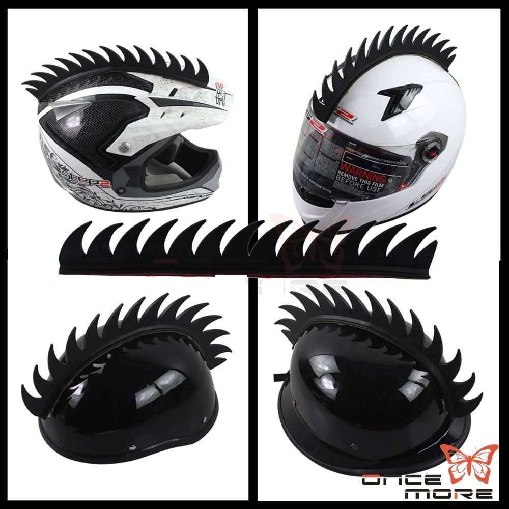 Motorcycle Helmet Mohawk Spike Strip Rubber Black