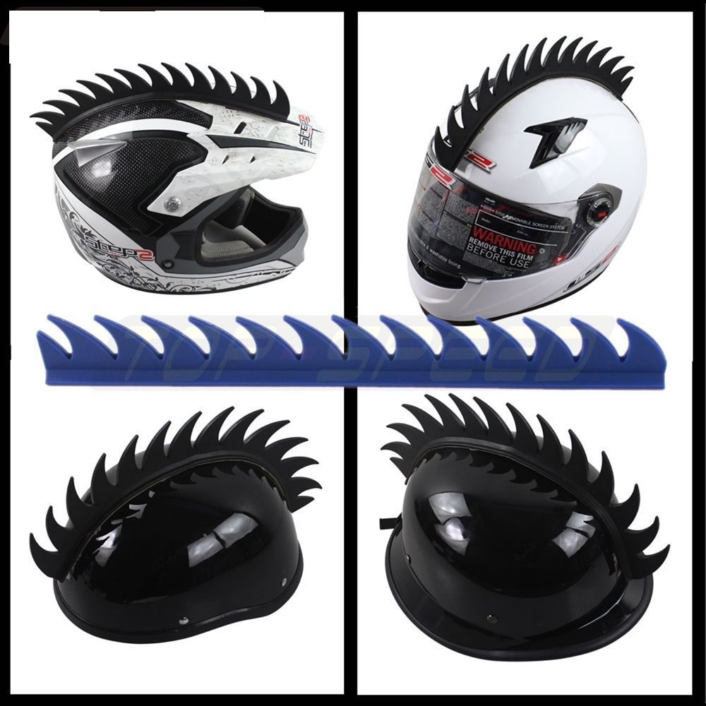 Motorcycle Helmet Mohawk Spike Strip Rubber Blue
