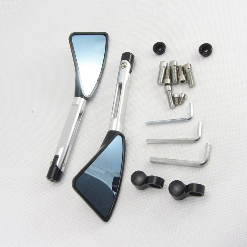 CNC Billet Aluminum Side Mirrors Silver/Black
