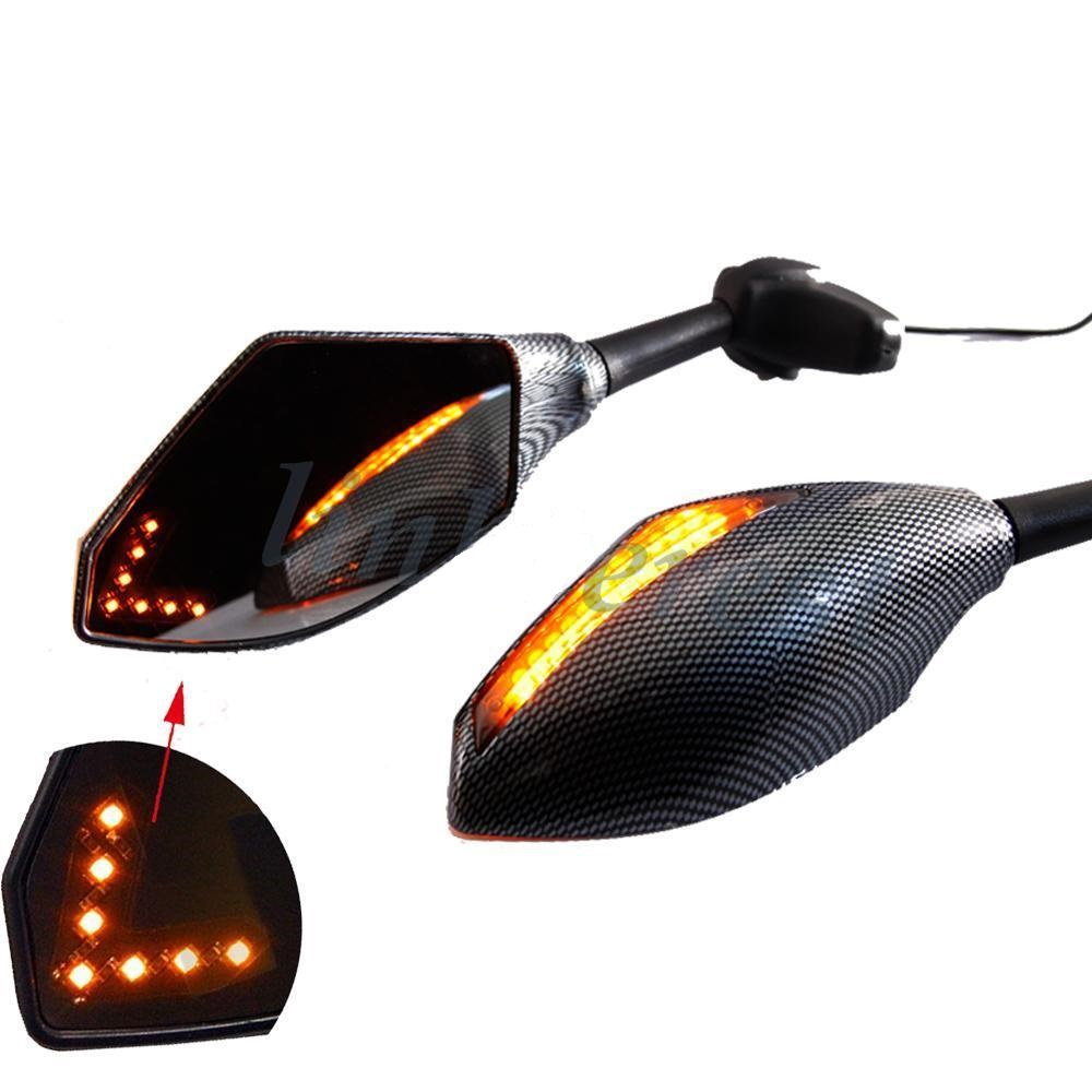 Universal Dual LED Turn Signals Integrated Carbon Mirrors
