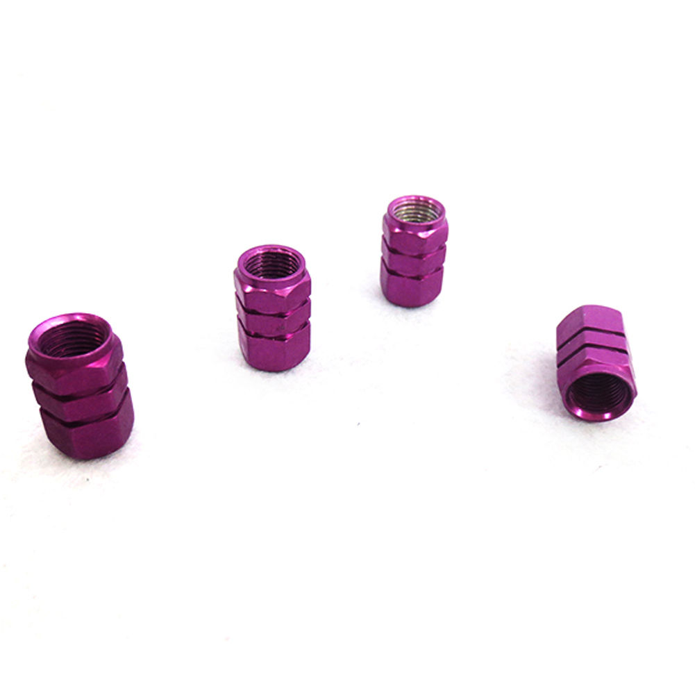 4 x Aluminum Wheel Bike Valve Dust Cover Cap Purple
