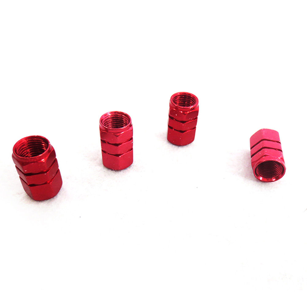 4 x Aluminum Wheel Bike Valve Dust Cover Cap Red