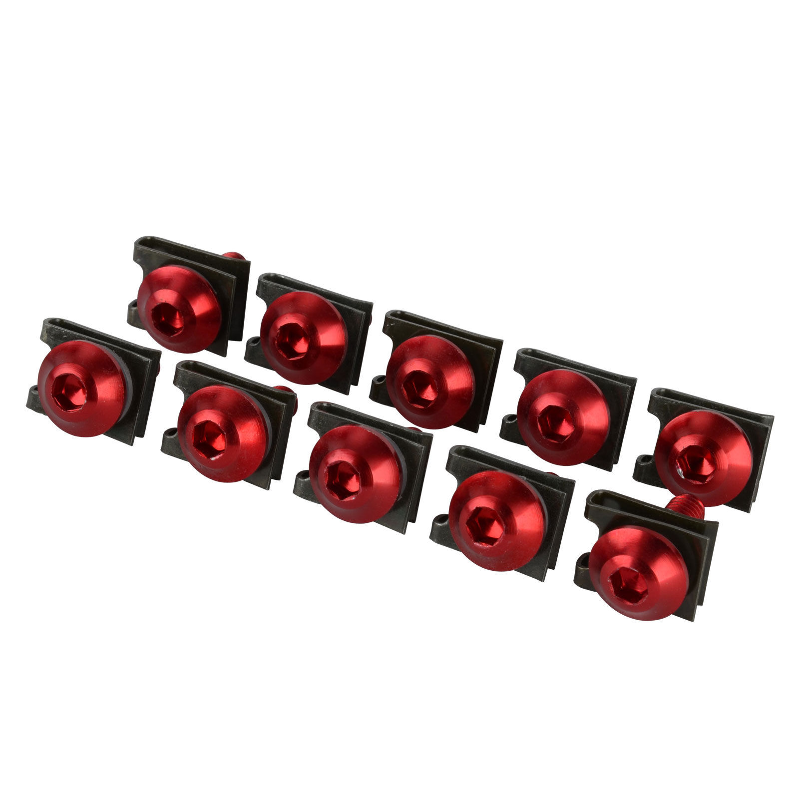 10x 6mm Aluminum Fairing Bolts Clips U Spring Nuts Kit Red