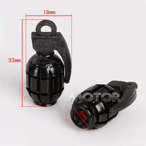 2 x Aluminum Grenade Design Motorcycle Valve Dust Caps Black