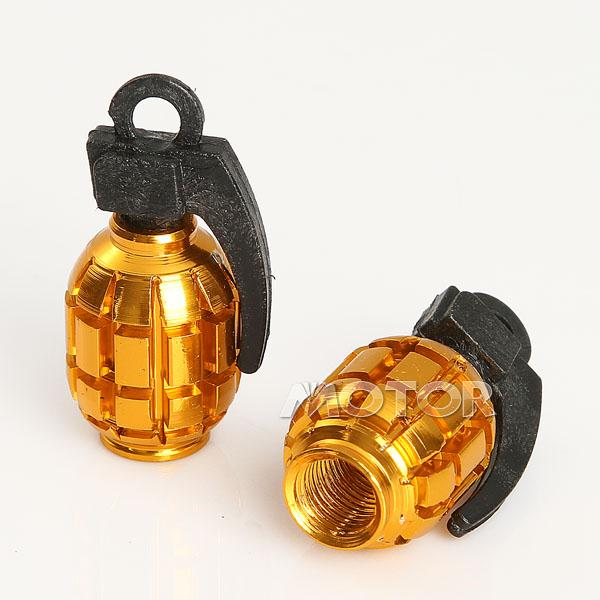 2 x Aluminum Grenade Design Motorcycle Valve Dust Caps Gold