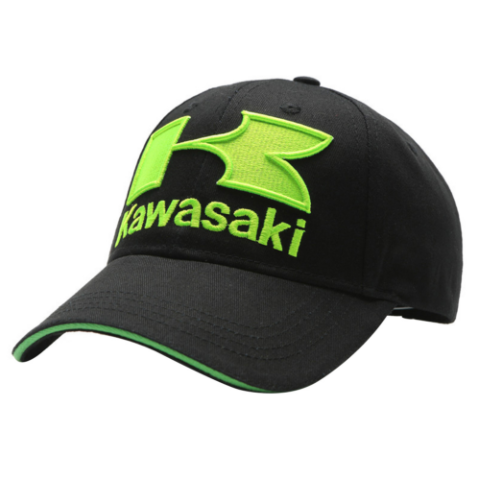 Kawasaki Logo Motorcycle 3D Embroidered Baseball Hat Black