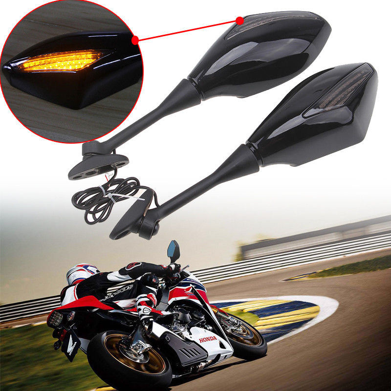 Motorcycle LED Turn signal Mirrors For HONDA  600RR 1000RR Black