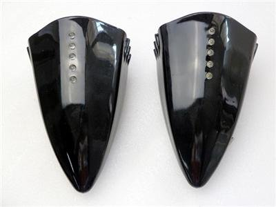 Motorcycle LED Turn Signal Pig Spotter Mirrors Black