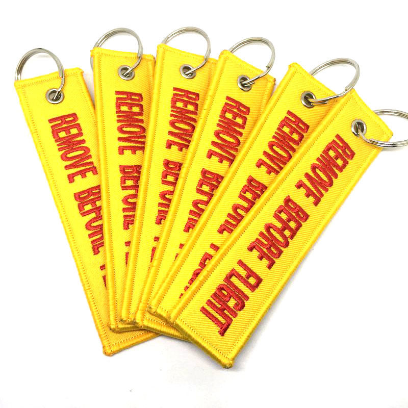 Remove Before Flight Double-sided Keychain Aviation Yellow & Red