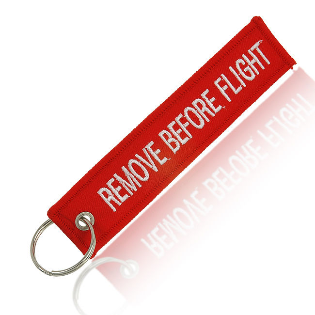 Remove Before Flight Double-sided Keychain Aviation Red