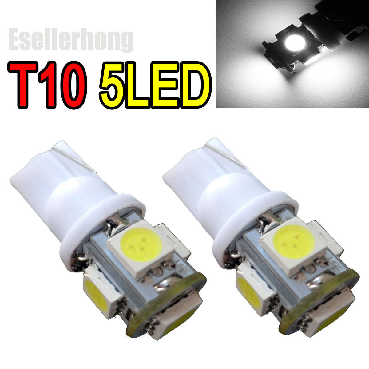2 X White 5-SMD T10 T15 555 2521 161 147 2825 168 LED Light Bulb