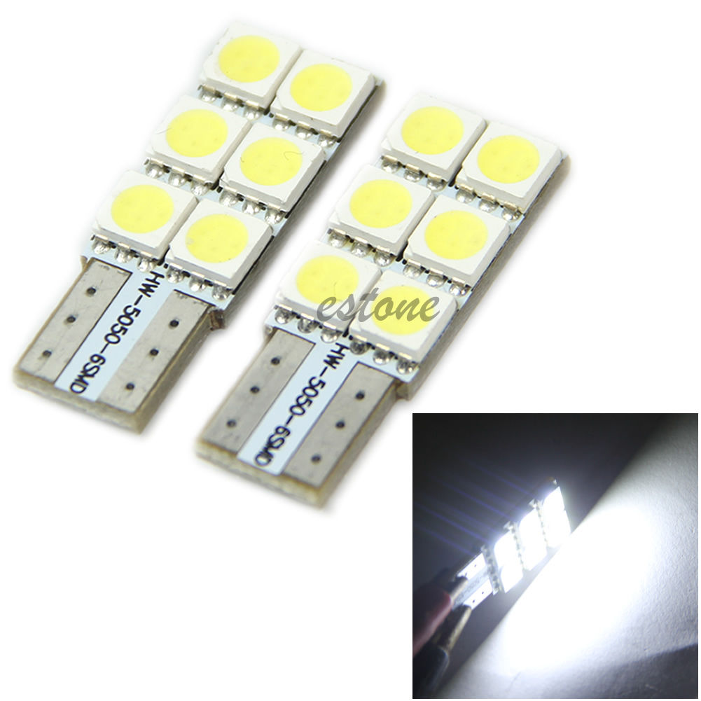 2X T10 194 168 Wedge 5050 6 SMD LED Light Bulb