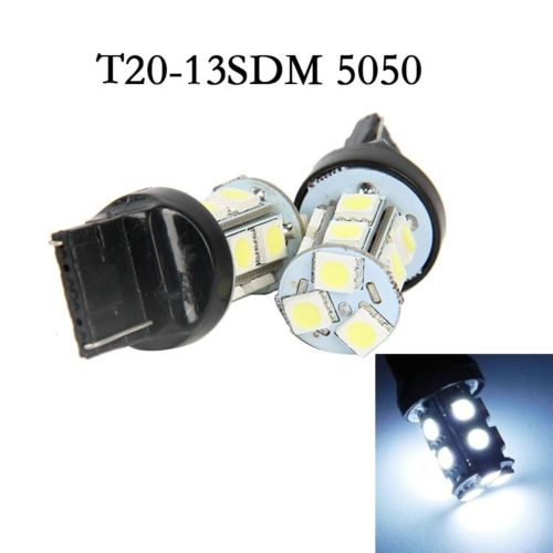 2 x T20 7443 7440 5050 LED 13SMD White Tail Turn Light Bulb