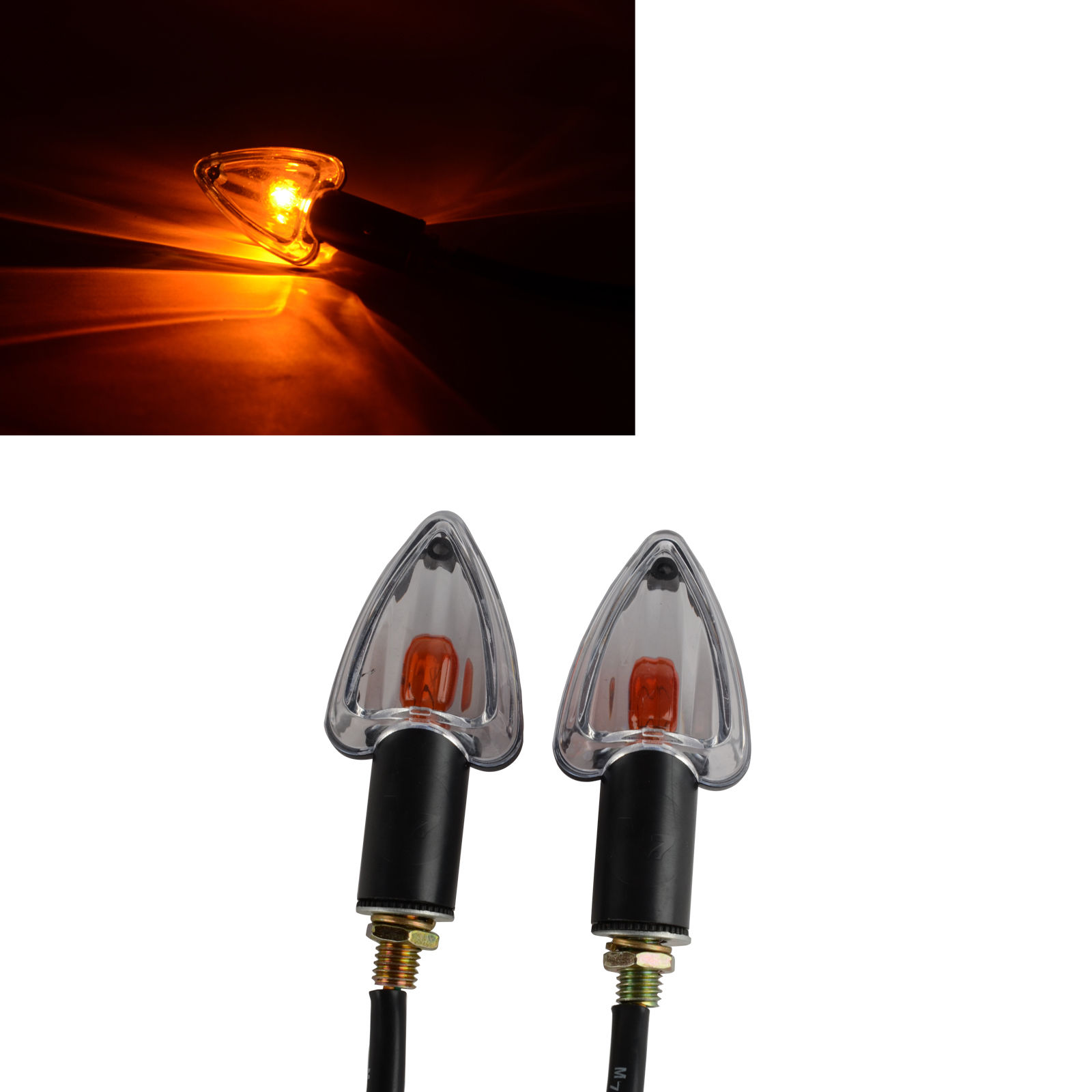 2x Amber Light Motorcycle Turn Signal Indicator Light Lamp Bulb