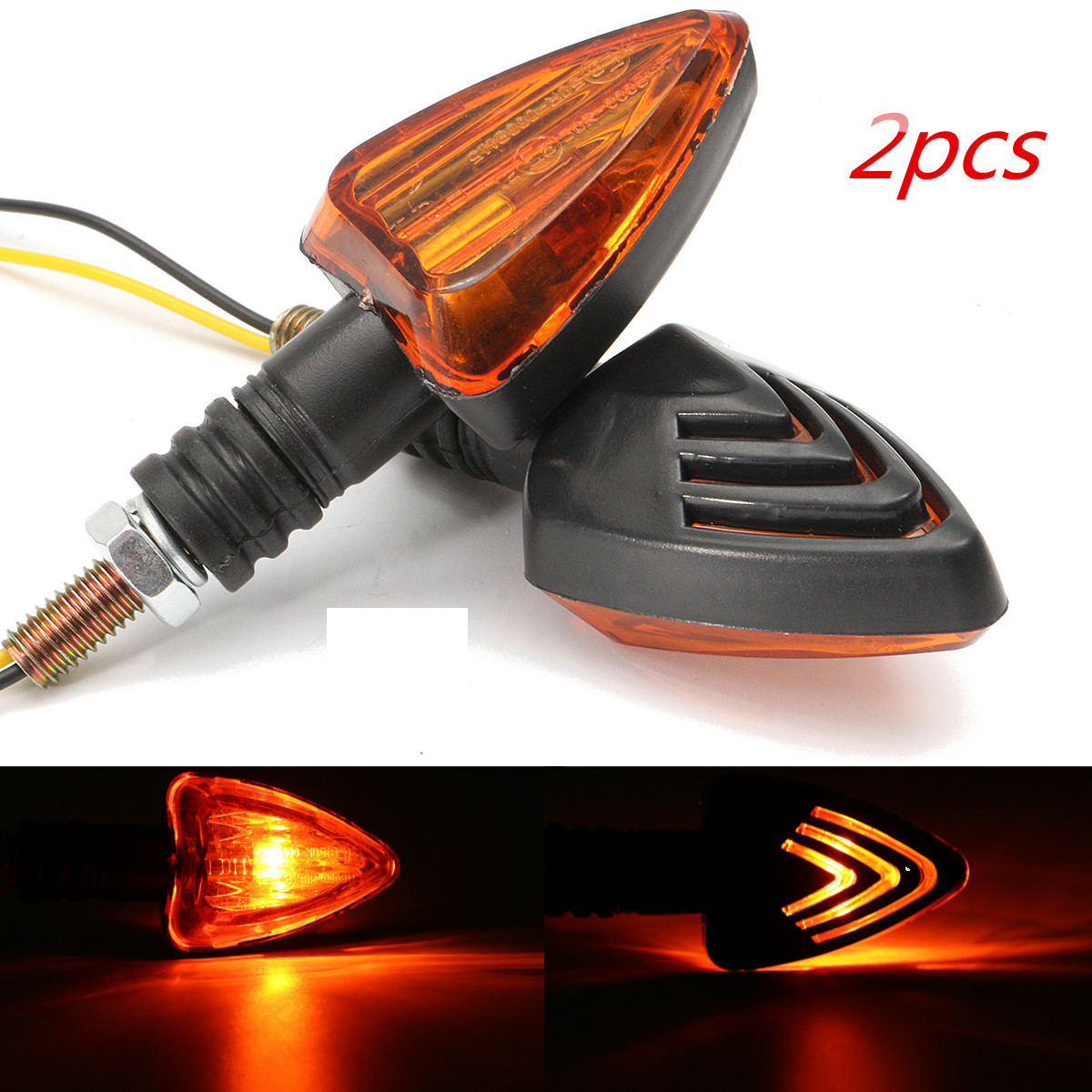 2x Amber Light Motorcycle Turn Signal Indicator Light Bulb V2