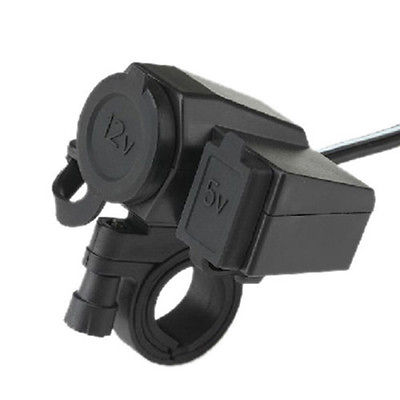 Weatherproof Motorcycle Dual USB Cell phone GPS Cigarette Charge