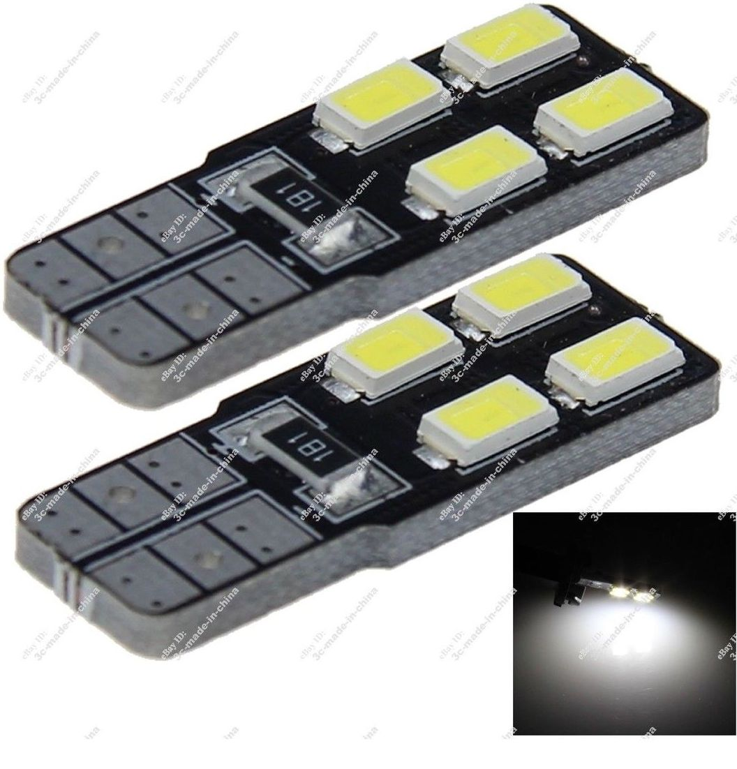 2 x T10 4 SMD White 6000k LED 5730 SMD Non-polar Wedge Side Ligh